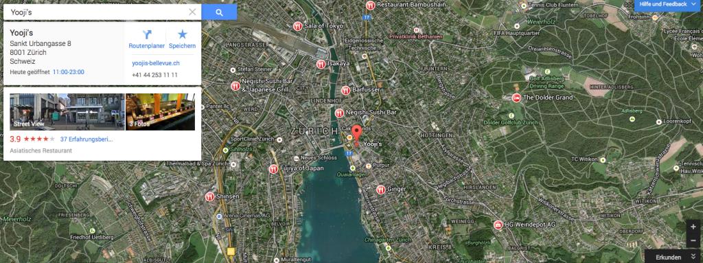 Das neue Google Maps in Zürich