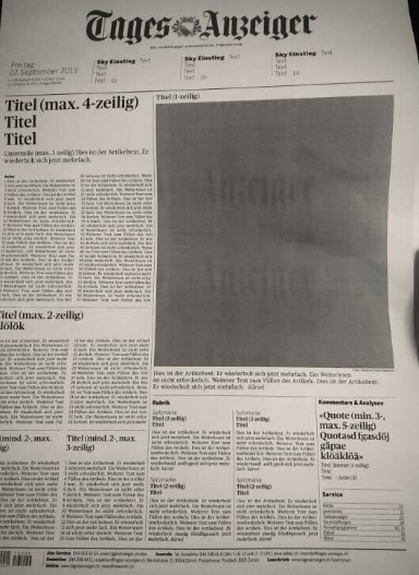 Layout des Tages-Anzeigers
