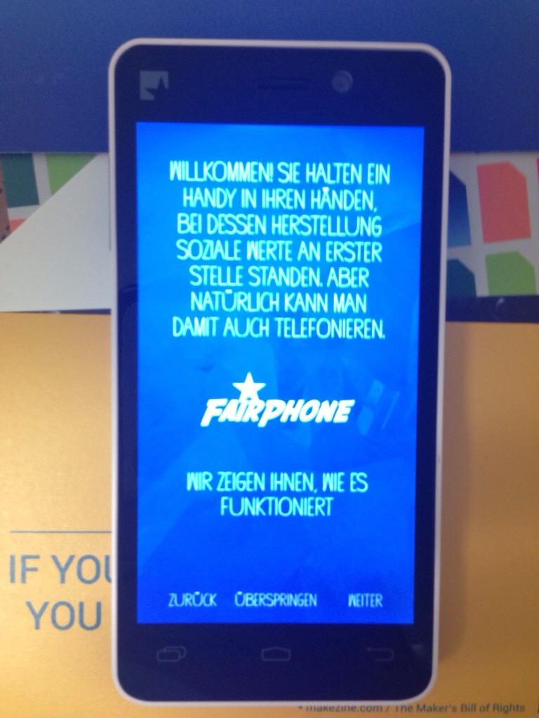 Fairphone Willkommensnachricht